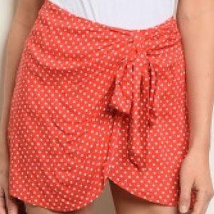 etophe studios Shorts - NEW! Red and White Polka Dot Skort w/Tie Front